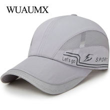 Wuaumx Brand Quick Dry Baseball Caps With Mesh Women's Summer Hat Trucker Cap Men Sport Sun Hat Breathable Bone Snapback Unisex summer men and women snapback cap quick dry summer sun hat visor hip hop bone breathable chapeu casual mesh men baseball caps