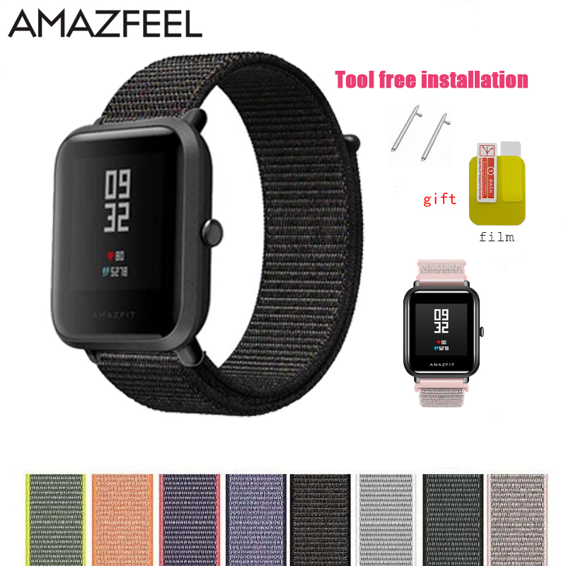 Woven Nylon Strap for <font><b>Amazfit</b></font> Watch Band Colorful Nylon Loop Woven Wrist Braclet for <font><b>Amazfit</b></font> BIP <font><b>BIT</b></font> PACE STRATOS <font><b>2</b></font> Watch Bands image