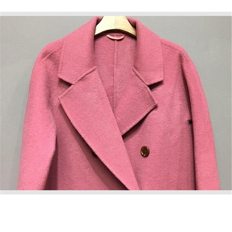 pink Chaud Turn Hiver Laine red Femmes Beige Femme Avec down Kw090 Poches Nouvelles Manteaux Kulazopper Long Outerwears Solide green Manches Longues Épais À Lâche wP0tqnxBd