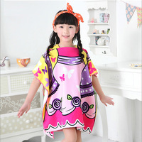 Swimming Holiday Children Cartoon Print Bathrobe Beach Towel Soft Absorbent Cute Princess Cloak Bath Towel