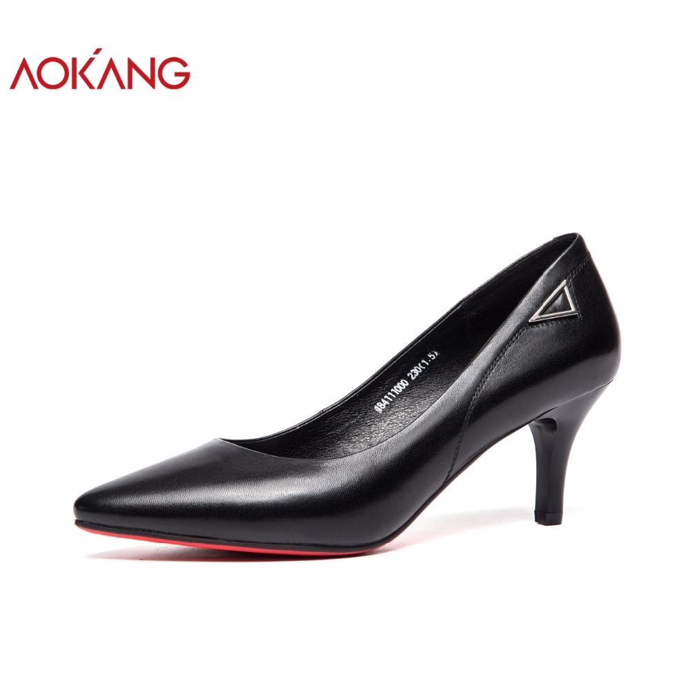 Здесь продается  AOKANG 2018 Women pumps shallow high heel thin shoes woman fashion women dress shoes mature ladies business shoes office   Обувь