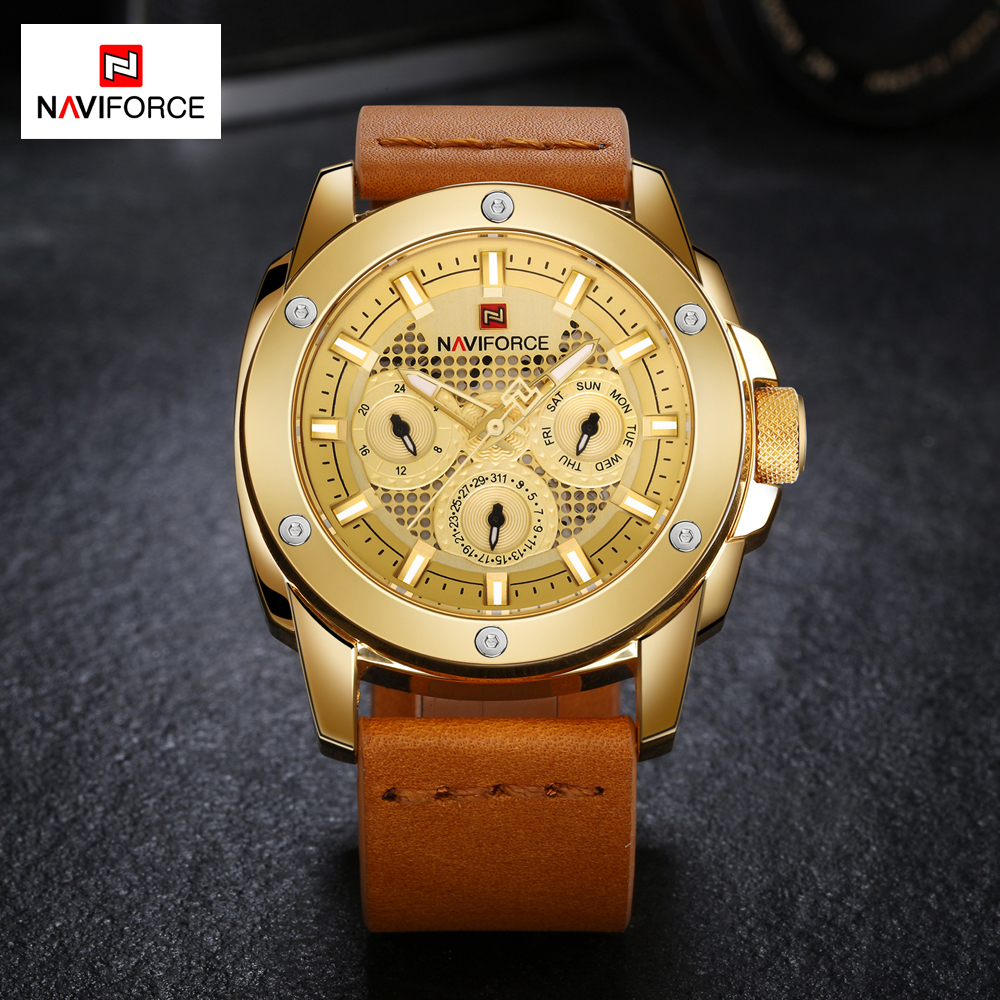 NAVIFORCE Luxury Casual Leather Sports Watches Men Quartz Military Watch Waterproof Man Clock Relogio Masculino reloj hombre 2018 new fashion casual naviforce brand waterproof quartz watch men military leather sports watches man clock relogio masculino