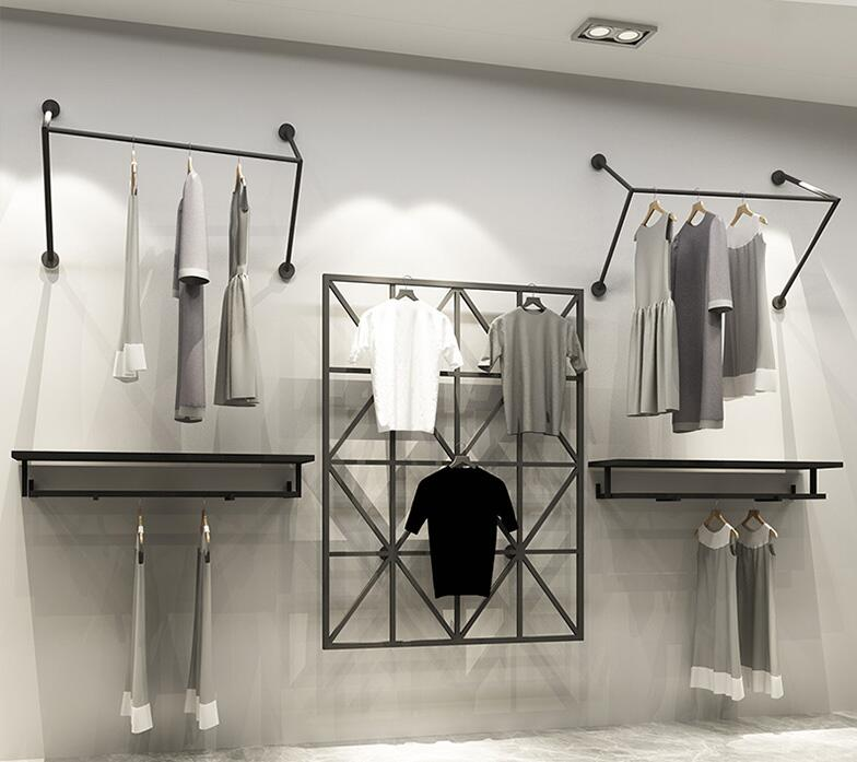 Clothing store display rack hanging wall hanging clothes rack iron shelf clothes rack in Storage Holders Racks from Home Garden
