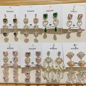 MENGJIQIAO Drop-Earrings Shell Crystal Jeweley Rhinestone Party Heart Korean Women Fashion