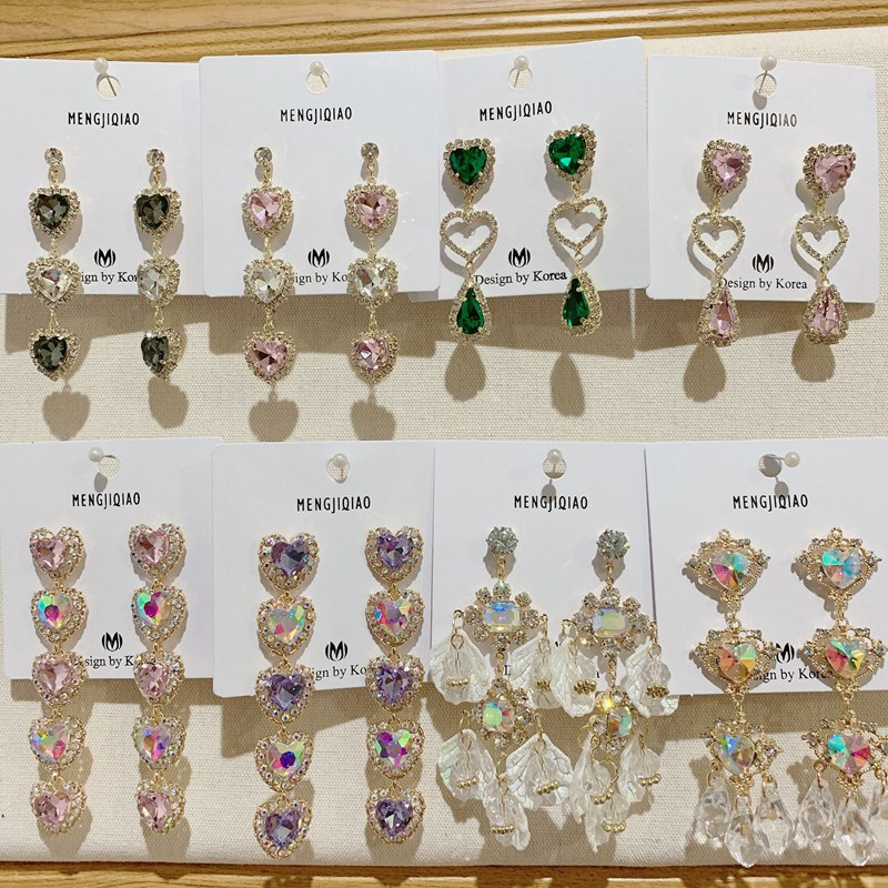 MENGJIQIAO New Korean Shiny Heart Crystal Drop Earrings For Women Fashion Shell Rhinestone Boucle D'oreille Party Jeweley Gift