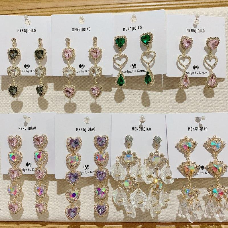 MENGJIQIAO-Pendientes con forma de corazón para mujer, aretes colgantes, cristales, estrás brillante, joya de fiesta, moda coreana