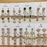 MENGJIQIAO New Korean Shiny Heart Crystal Drop Earrings For Women Fashion Shell Rhinestone Boucle D'oreille Party Jeweley Gift