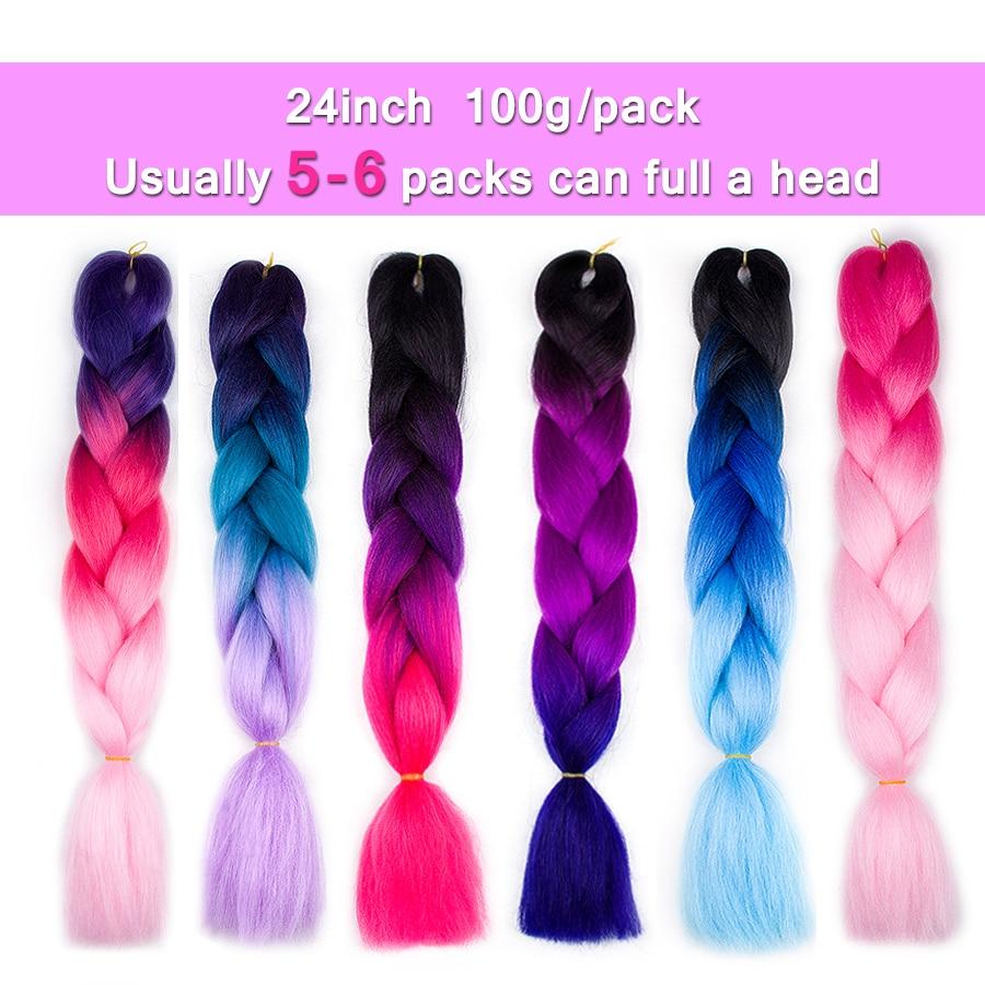 ELEGANTMUSSER Hårprodukter 24 tum Två Toner Syntetisk Kanekalon - Syntetiskt hår - Foto 4