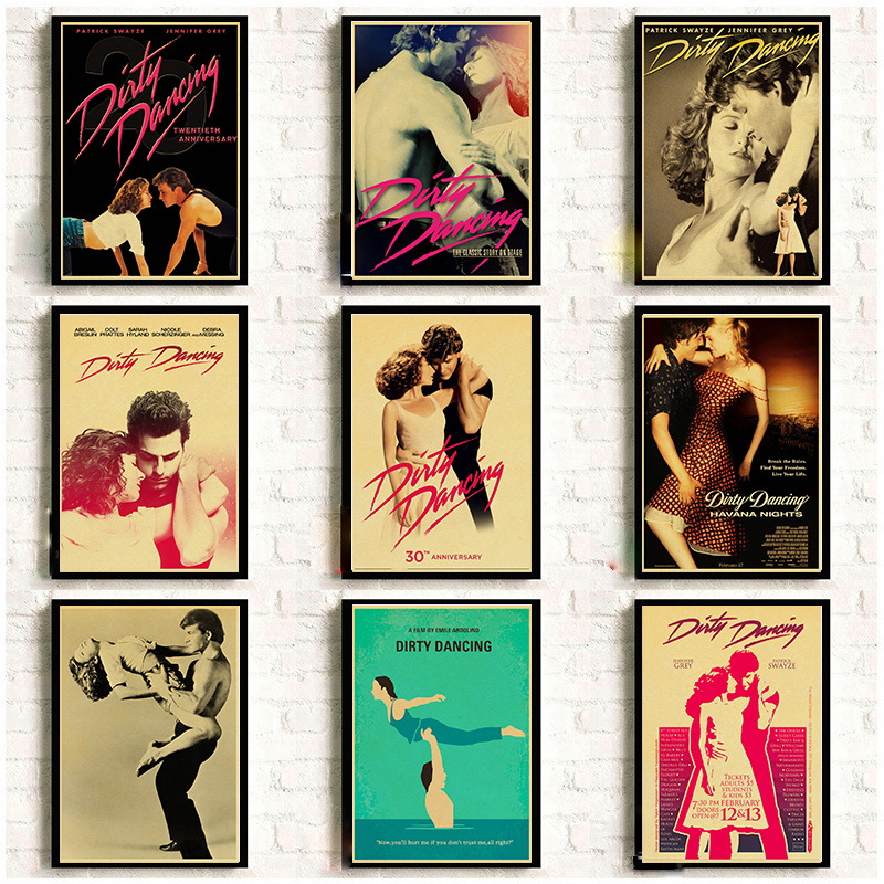 Dirty Dancing Posters Vintage Kraft Paper Classic Movie Poster Home Room Bar Decor Wall Decoration Art Wall Stickers