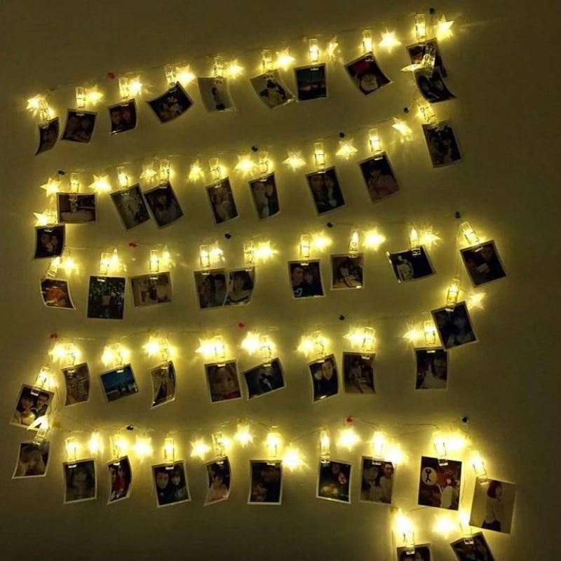 Led Wall Light Flashing: LED Photo Clip Lamp String Creative Bedroom Flashing