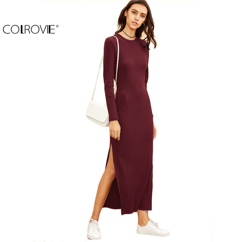 COLROVIE 2016 Winter <font><b>Dresses</b></font> for Women European Style Women Fall <font><b>Dresses</b></font> Burgundy Knitted Long Sleeve <font><b>High</b></font> <font><b>Slit</b></font> <font><b>Ribbed</b></font> <font><b>Dress</b></font>