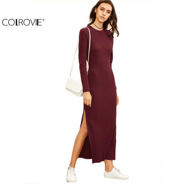 Colrovie Winter Dresses For Women European Style Fall Burgundy Knitted Long Sleeve High