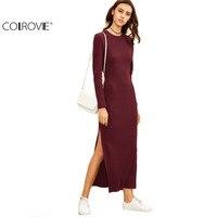 COLROVE 2016 Winter Dresses For Women European Style Women Fall Dresses Burgundy Long Sleeve High Slit