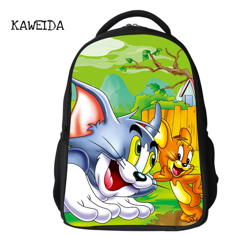 Famous Cartoon Character TOM and JERRY Printing School Backpack Bag Kids Large Schoolbag Bookbag Bagpack for Boys Girls 2019 new in School Bags from Luggage Bags