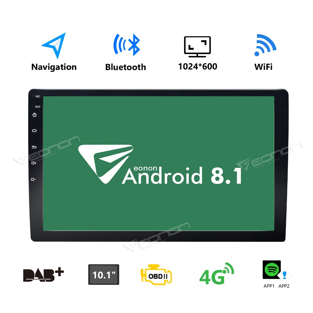 "Eonon GA2168K 10.1"" HD Universal Double 2 Din Android 8.1 Car Radio Stereo WiFi Bluetooth GPS Navigation OBD2 4G USB SD 1024*600"