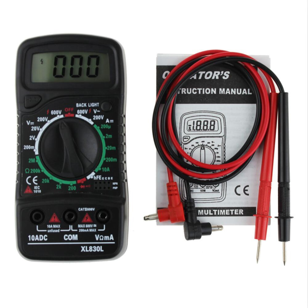 Portable XL-830L Digital LCD Multimeter Voltmeter Ammeter ACDCOHM Volt Current Tester