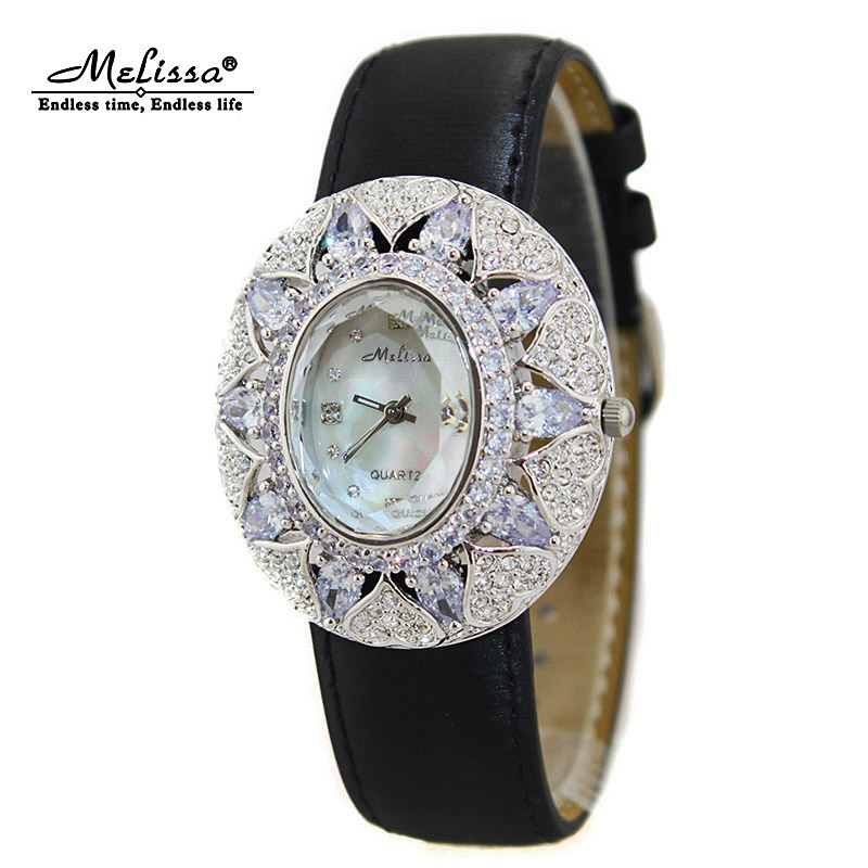 Luxury Melissa Lady Women's Watch Rhinestone Crystal Clock Fashion Hours Dress Bracelet Bling Hollow Lucky Shell Girl Gift Box 2016 summer fashion crystal mid heel wedges buckle women sandals new camel women shoes comfortable stylish rhinestone sandals