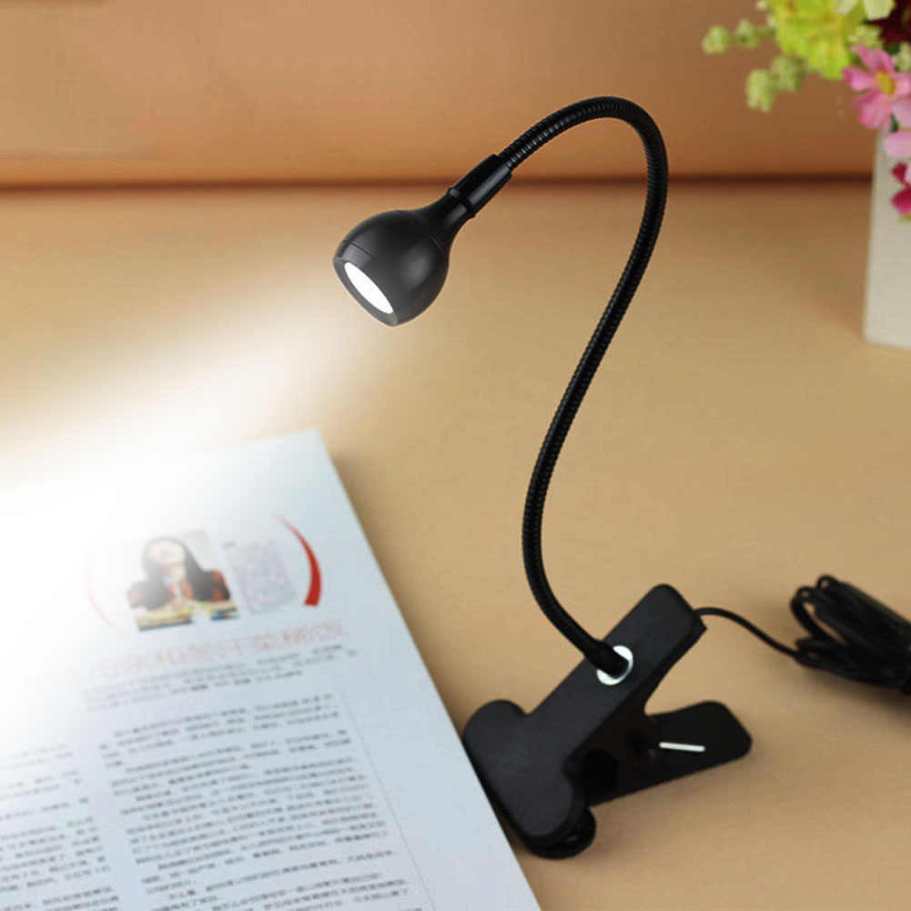 3W USB Flexible LED Stand Clip Reading Light Clip-on Beside Bed Table Desk Lamp Book Light Gift for Student 151g