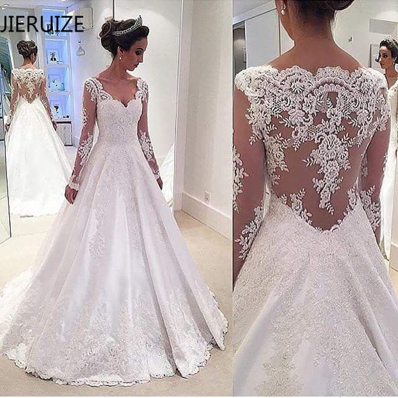 JIERUIZE White Lace Appliques Long Sleeves Wedding Dresses 2019 V-neck Sheer Back Bridal Dresses Wedding Gowns Abendkleider