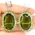 Big Criado Gemstone 30x20mm Verde Peridot SheCrown da Mulher Brincos de Prata Do Casamento 56x30mm