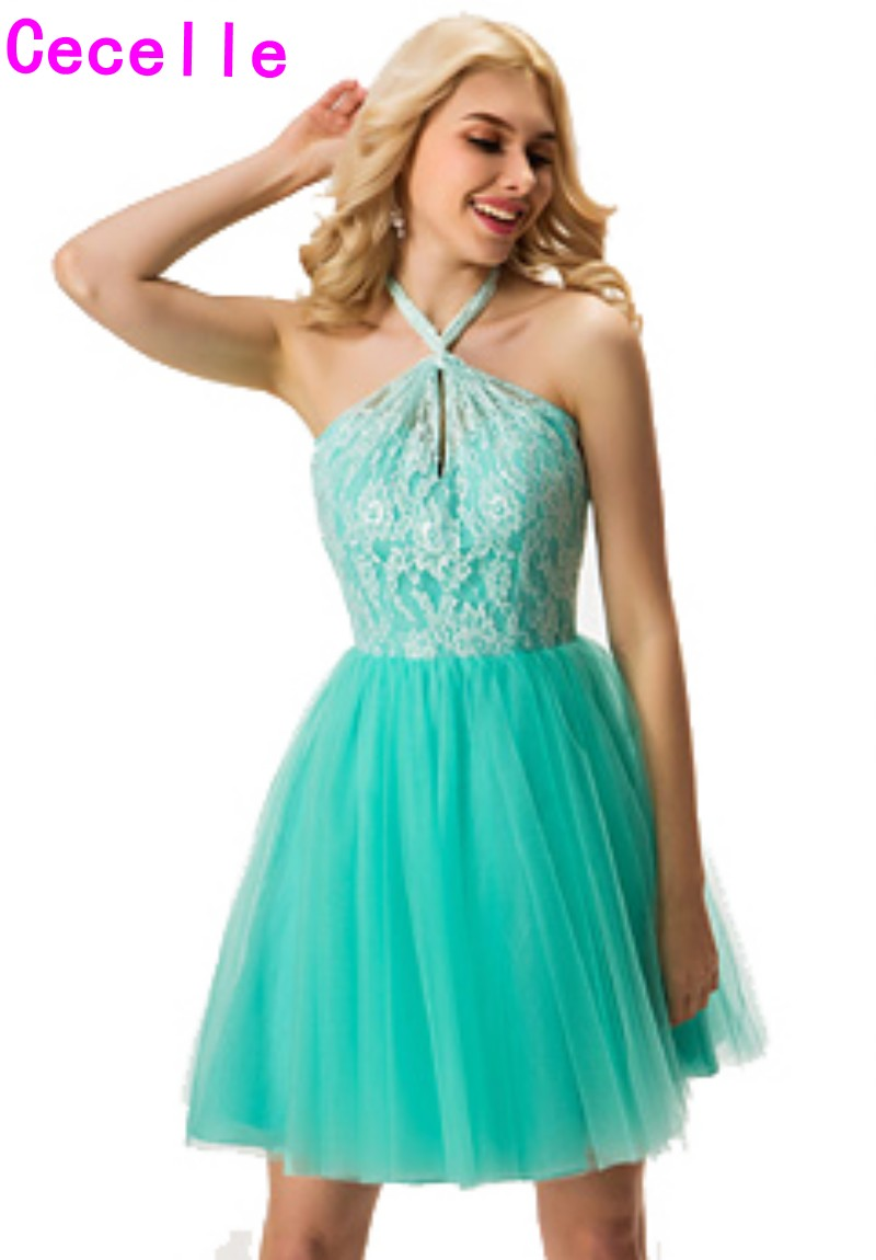 2017 Real Country Short Bridesmaid Dresses Halter Mint Lace Top ...