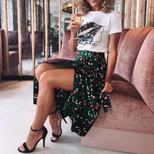 Women Skirts Sweet Fashion Printed Bow Tie Skirt Concise jupe femme Sumemr Casual High Waist All-match Long Skirts 2019 women s slippers fashion casual all match bow tie flat shoes