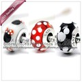 3pcs NEW S925 Sterling Silver Black & White Classic Minnie Charms beads Fit European Pandora Charm Bracelets Pendant Gifts