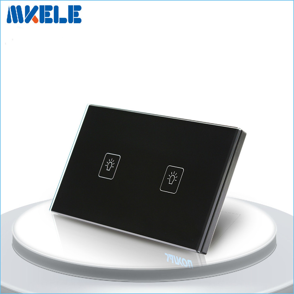 Touch Switch 2 Gang 2 Way Black Crystal Glass panel US Standard wall socket for lamp smart home us au wall touch switch white crystal glass panel 1 gang 1 way power light wall touch switch used for led waterproof