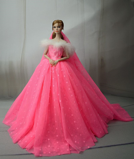 73a8d2bdf6a9e US $4.74 5% OFF|Dress + Veil / Hot Pink Voile Party Dress Evening Gown Lace  skirt Clothing Outfit For 1/6 BJD Xinyi FR ST Barbie Doll-in Dolls ...