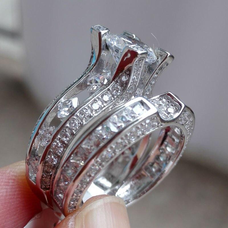 Aliexpress Buy 23 Ct Round Cut CZ Genuine 925 Sterling Silver Wedding Ring Sets