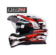 Genuine free shipping dual lens off-road helmet LS2 MX455 coaster red white motorcycle helmet full helmet with a balloon