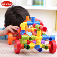 72pcs Children Water Pipeline Assemble Construction Model Water Pipe Plug Match Building Blocks Kids Educational Tunnel