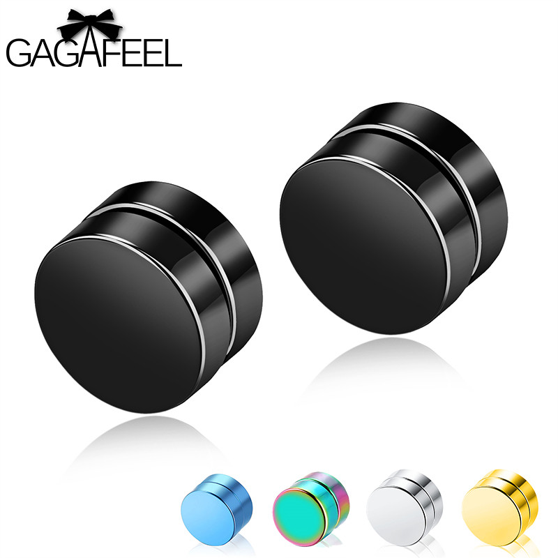 GAGAFEEL Magnetic Stud Earrings Men Earring Jewelry Stainless Steel Authentic Classic Round Magnet Multicolor Earrings For Male men beaded bracelet red
