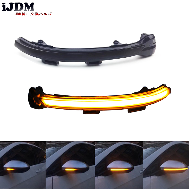 iJDM Smoked Side Mirror Sequential Blink Turn Signal Light For 2015-2018 Volkswagen MK7 Golf GTI Turn Signal Lights,Amber LED real carbon fiber mirror cover case for vw golf 7 mk7 gti tsi vii jdm 2013 2015 [1031001]
