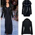 2015 nuevas mujeres del invierno cálido abrigo de lana de lana chaqueta negro gran cuello de piel gruesa Parka Outwears con cremallera señora abrigos chaqueta
