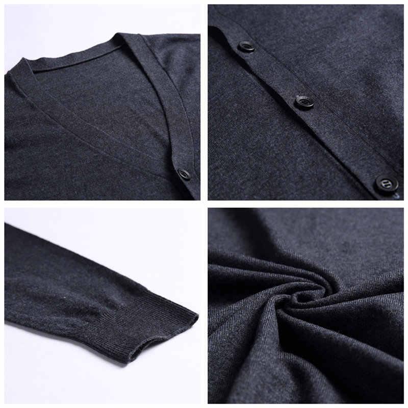 COODRONY мужские кашемировые свитера хлопковый свитер мужские чистый цветной трикотаж кардиганы классические повседневные с v-образным вырезом шерстяной кардиган мужские 91008