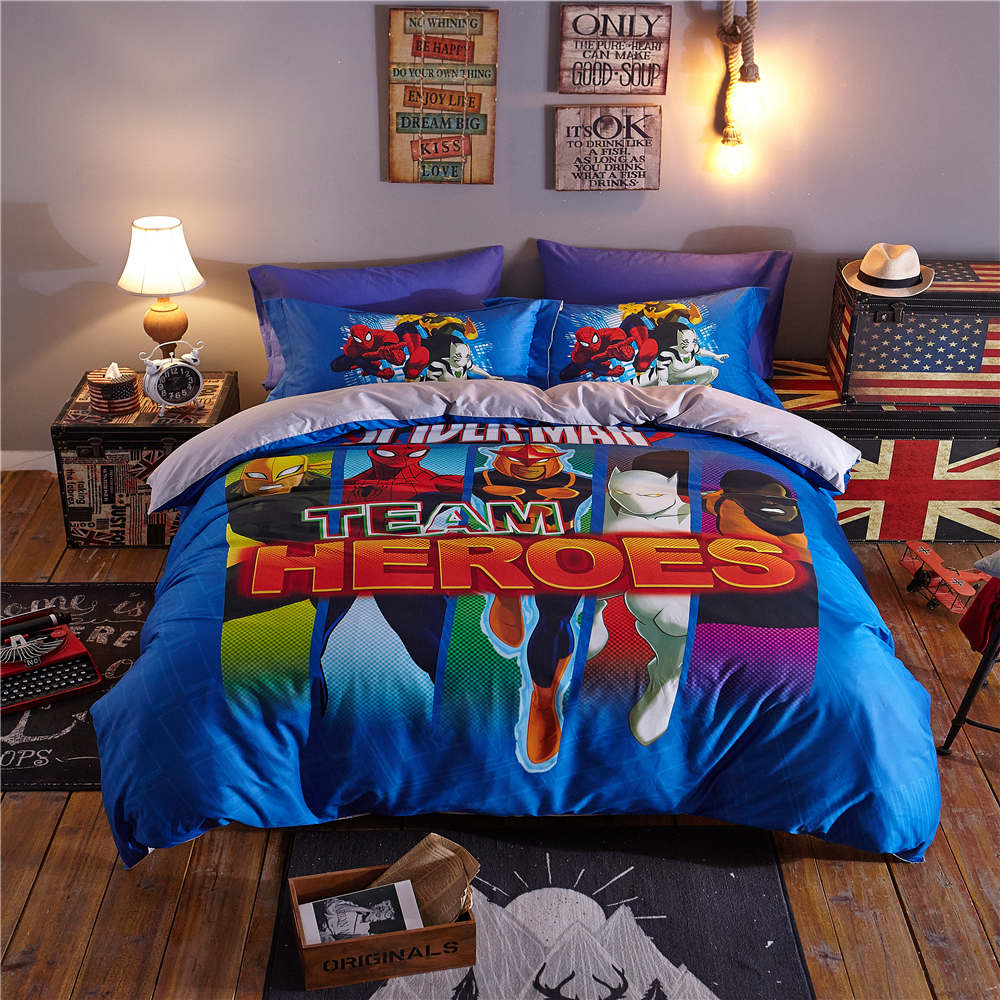 Captain America Heroes 3D Printed Bedding Sets Bedspreads Comforters Duvet Covers Single Twin Full Queen Size Cotton Woven Blue