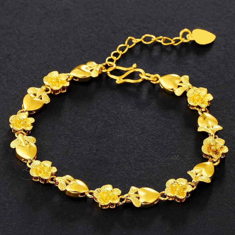 Flower Wrist Pattern: Flower Pattern Wrist Chain Yellow Gold Filled Beautiful