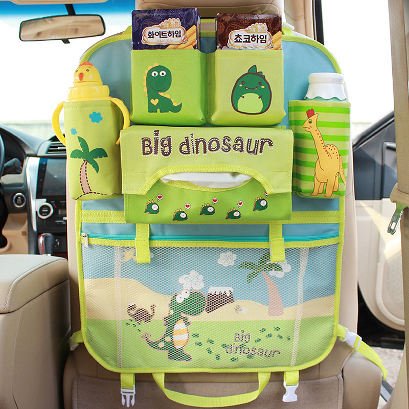 Cute Style Car Seat Back Organizer Storage Hanging Bags For Baby Kids Children Auto Seat Back Kick Mat With Tissue Box Holder|Stowing Tidying| |  - title=