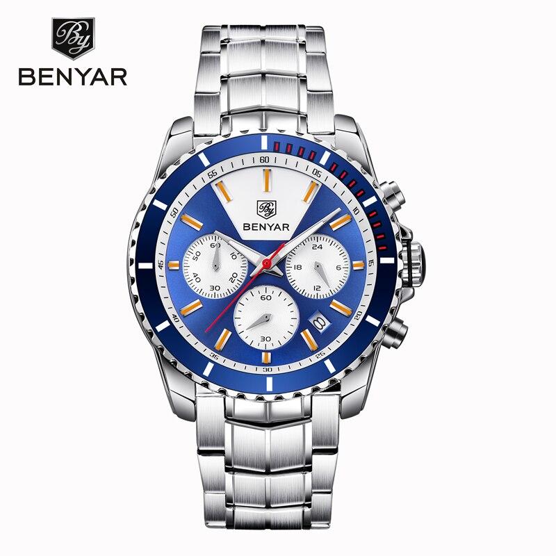 Man Watch 2019 New BENYAR Mens Watches top Brand Luxury Quartz Wristwatch Chronograph Business Clock Men Relogio Masculino