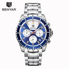 цена на Man Watch 2019 New BENYAR Mens Watches top Brand Luxury Quartz Wristwatch Mens Chronograph Business Clock Men Relogio Masculino