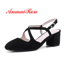 ANMAIRON Kid Suede Slip on Round Toe Woman Fashion Shoes Buckle Spring Autumn High Quality Cool Ladies Sheos Black Purple Brown
