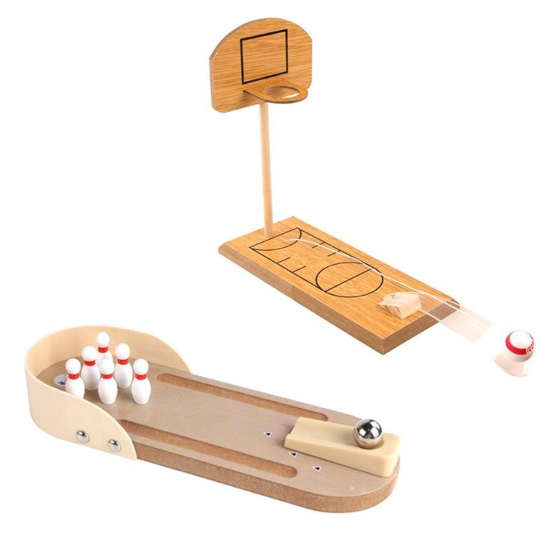 Indoor Spiele Mini Holz Bowling basketball Freizeit Sport Desktop-Spiel Spielzeug für Kinder Reduziert Druck Spielzeug