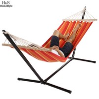 Homdox Single Outdoor Patio Stand Hammock Swing Striped With Portable Carrying Bag N30A