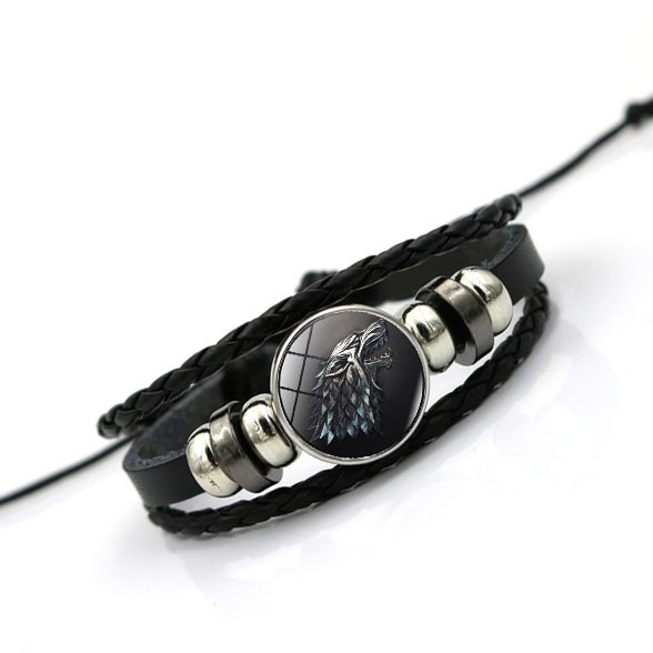 Game of Thrones House Stark Wolf Glass Cabochon Leather Bracelets Multi Layers Weave Handmade Punk Black Men Bracelets 5