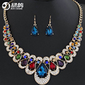 Cubic Zirconia Indian Jewelry Sets For Women Multi Colored Big Crystal Necklace And Earrings Ladies