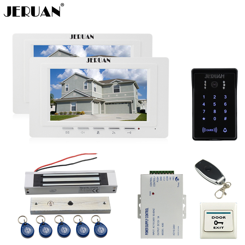 JERUAN new 7`` LCD Video Intercom Video Door Phone System 2 white monitor RFID Waterproof Touch key Camera+Remote control Unlock jeruan new 7 video intercom entry door phone system 1monitor 700tvl touch key waterproof rfid access camera remote control