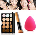 Professional Makeup Concealer Palette 15 Color +Wooden Handle Powder Brush+Cosmetic puff Foundation Makeup Tool maquiagem Y3S1