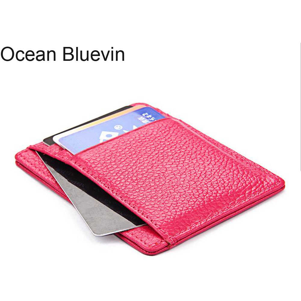 OCEAN BLUEVIN Women's Lychee Pattern Bank Credit Card Holder For Women's Leather Card Making a Purse Business Card Holder For
