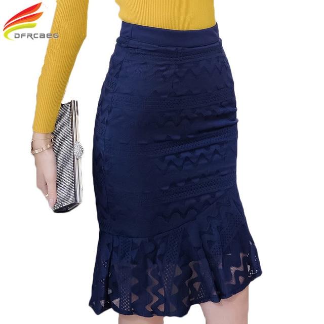 Elegant Ladies Pencil Skirt Lace Patchwork 2018 Autumn New Fashion Jupe  Femme High Waist Skirts Knee Length Women Bodycon Saias 4816e94e5106